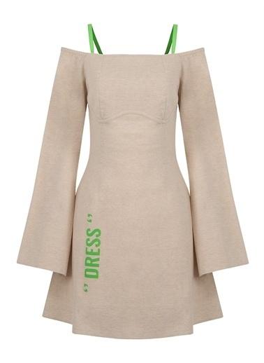 Nocturne Düşük Omuz Mini Elbise Bej